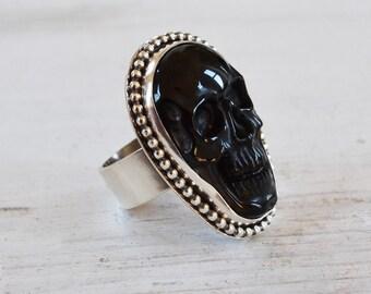 Carved Skull Ring, Black Skull in Oxidized Sterling Silver Beaded Bezel, Sterling Silver Goth Ring, Stone Skull Statement  Ring