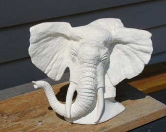 Ceramic Bisque Elephant Bust