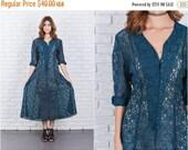 LABOR DAY SALE Vintage 90 Dark Green Sheer Lace Dress Grunge Floral 3/4 Sleeve Midi Medium M 7710 vintage dress 90s dress green dress sheer