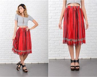 Red Hippie Festival  Skirt Vintage 70s India Striped Fringe Medium M 8047