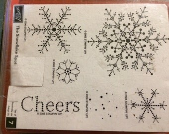 Stampin Up THE SNOWFLAKE SPOT  Set of 7 wood mounted stamps  2006