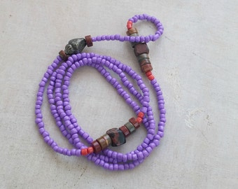 Long Beaded Necklace, Purple Orange Brown Mixed beads Necklace, Everyday Layer Modern Jewelry, Boho colorful Necklace, Bohemian seed beads