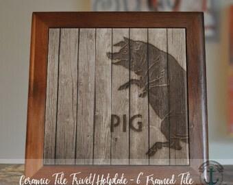 "Trivet Hot Plate:  Farmhouse Pig  |  Country Chic Barn Decor  |  6"" Ceramic Trivet or Tile Kitchen Accessory"