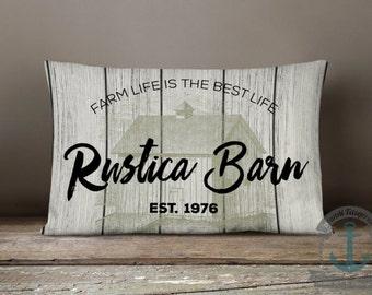 "Rustica Barn Lumbar Pillow | Wood Plank Look Country Farmhouse Chic Decor | 12 x 18"" Long Oblong Pillow"