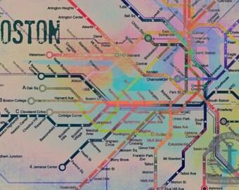 The Colors de Boston Boston T City Transportation Map Art Product Options and Pricing via Dropdown Menu