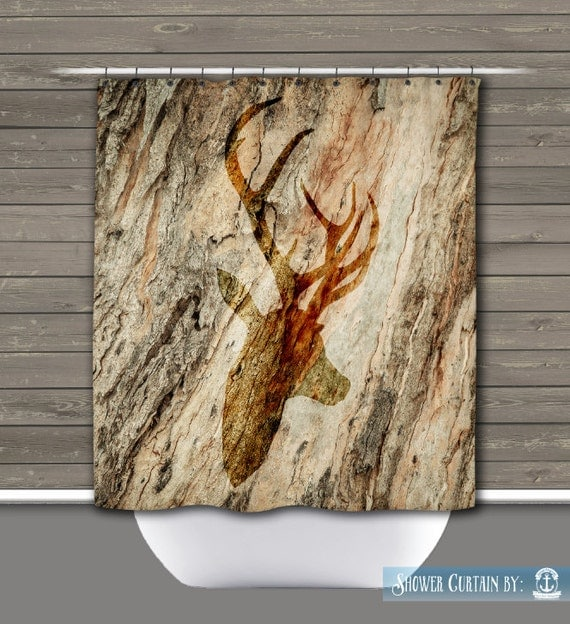 Deer Shower Curtain Rustic Lodge Deer Head Wilderness 12