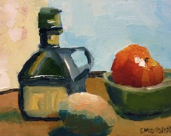 Still Life Oil Painting Tomato, Oil and Eggs Small Original Impressionist Art