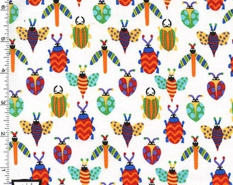 Pesky Bugs on White From Michael Miller's Creepy Crawlies Collection