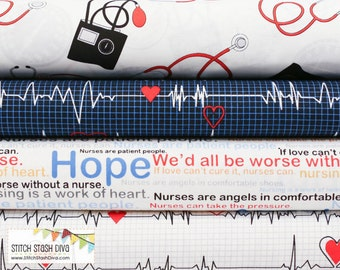 Back in Stock July 31st - Nurses Bundle From Windham Fabric's Calling All Nurses - 4 Fabrics