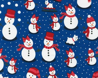 Snow People on Royal Blue from Robert Kaufman's Polar Pals by Andie Hanna
