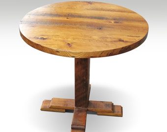 Reclaimed pine round bistro table