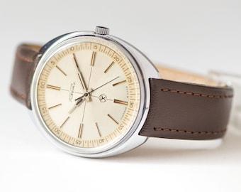 Soviet men's wristwatch Rocket, modern chunky gent's wristwatch, mechanical watch him, quality mark  USSR watch, premium leather strap new