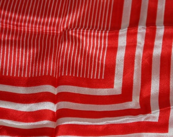 """HONEY Silk Scarf in Red and White Stripes - July 4th - 30 x 30"""" square"""
