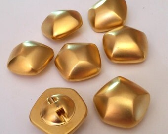 Vintage Gold Polygon Buttons - Set of 8 - Glowing Retro