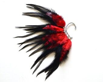 Feather Ear Cuff, Feather Ear Wrap, Ear Cuff, Halloween Earrings, Halloween Ear cuff, Feather Earrings, Festival Earrings
