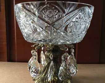 Vintage Cut Glass Brass Bowl with Prisms
