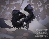 Black Cynthia Luxury Collar with Large Bow - Made To Order - Absolute Devotion