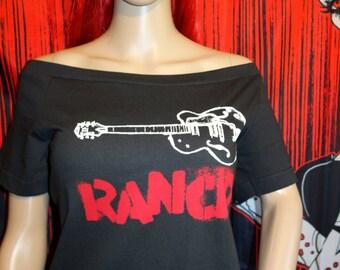 Rancid  DIY Shirt NOFX Horrorpops Flogging Molly Dropkick Murphys Rancid Social Distortion Psychobilly Tiger army off the shoulder