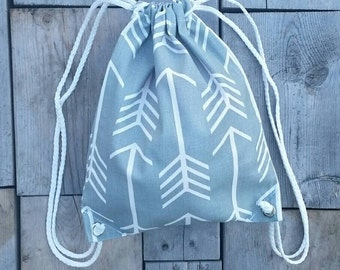 SALE! Grey Arrow Drawstring Backpack - Toddler Backpack - Ready to ship