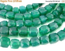 15% off Christmas in July Green Onyx Beads -- Green Onyx 8mm Faceted Cube Beads-- 1 STRAND (LL-14)