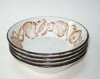 Midwinter Stonehenge SEASCAPE Set 4 Soup Cereal Dessert Bowls -Mid Century Modern Stoneware Wedgwood Group England
