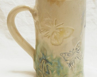 ceramic hand built butterfly coffee mug 16oz stoneware 16A058