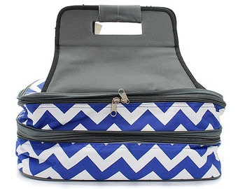 Monogrammed Casserole Carrier - Blue & White Chevron Pattern - Tailgate Bag - Shower Gift - Wedding Gift - Personalized Gift