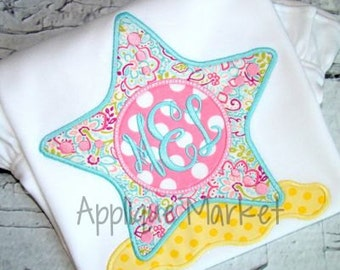 Starfish Monogram Applique shirt - Summer Applique Design - Girl's shirt - Monogram or Name included