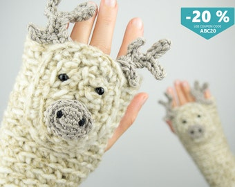Reindeer Fingerless Gloves - FREE Shipping Worldwide