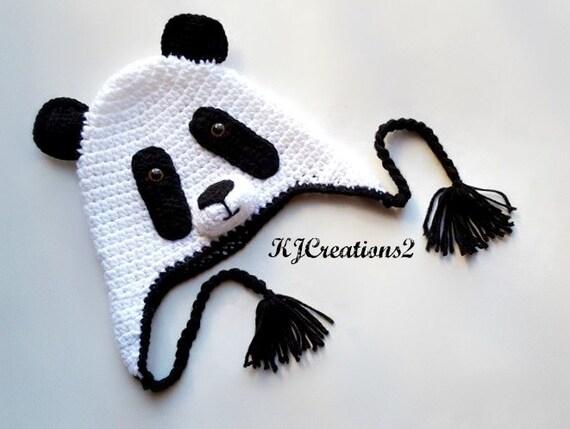Panda Bear Earflap Hat Crochet Pattern : Crochet Panda Bear Earflap Hat by kjcreations2 on Etsy
