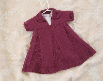 Knit Baby Dress 12M Toddler Merino Wool Vintage Style