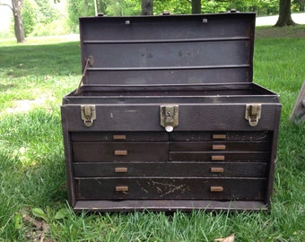 Vintage  Kennedy Metal Tool Box • vintage Kennedy machinist chest • vintage jewelers chest