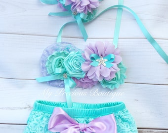 Under the sea birthday outfit, lavender and aqua, lilac and aqua, diaper cover and headband, under the sea cake smash, mermaid party