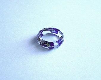Hand Made Real Blue Lobelias Circle Convex Ring,Band Ring Gift idea
