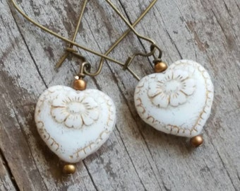 Heart Earrings Simple Rustic Cream Ivory Romantic Wedding Victorian Earrings