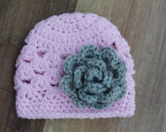 Baby Girl Crochet Hat with Rose Flower, Pink Crochet Hat with Attached Flower, Baby Crochet Hat, Newborn Hat, Pink and Gray Hat