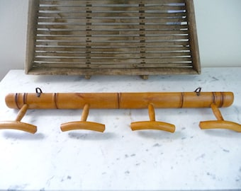 Vintage Wall Rack French Faux Bamboo Coat Rack Towel Rack 4 Wall Hooks France Decor French Country