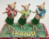 Hula pigs , cake topper , luau party , hawaiian decor , one of a kind , clay and spun cotton figures