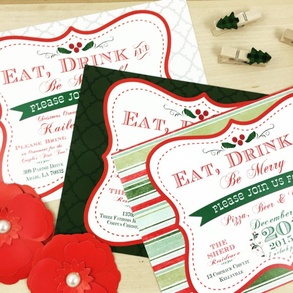 Eat Drink Be MARRIED Christmas Wedding Shower Invitation – Christmas Wedding Shower Invitations