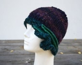 winter hat retro cloche teal bordo hand knit felt decoration,1920 woman beanie, unique art to wear fashion design eco wool 142