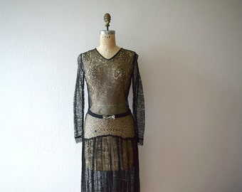 1920s 1930s black lace dress . vintage 20s 30s dress