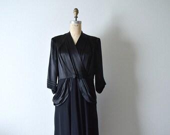 1940s black dress . vintage 40s satin and crepe dress