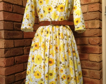Yellow floral tea dress with long sleeves Size 12 READY TO SHIP