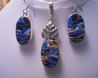 Mosaic Jasper From France Pendant/Earrings SET.....Set In Sterling Silver Palladiium.....ON SALE