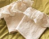 Upcycled White Lace Sweater Boot Cuffs // Gifts for Her // Boot Accessories // Fall Accessories // Lace Boot Cuffs // Wool Boot Cuffs