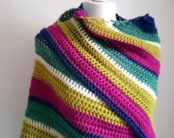 Easy Crochet Shawl Pattern  - Warmer Winter Shawl - PDF Crochet Pattern