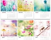 2017 calendar floral photography calendar botanical calendar 5x7 4x6 mini desk calendar with easel tulips dandelions pastel flowers nature