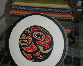 Hand Drum with Eagle Design