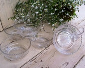Vintage Clear Glass Dessert Cup Set - Mid Century Dining + Serving Glassware, Party Snack Cups, Bridal Shower China, Holiday Meal, Serving