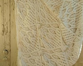"""Vintage Ivory Handmade Tablecloth - Antique Crocheted Creamy White Table Linens, Cottage + Shabby Chic Home Decorative Linen, 94"""" x 50"""""""